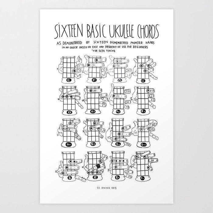 image relating to Printable Ukulele Chord Chart identified as k.w.ink Ukulele Chords Chart: 16 Straightforward Ukulele Chords Artwork Print as a result of kwink