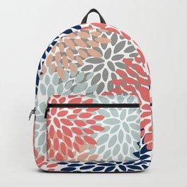 Floral Bloom Print, Living Coral, Pale Aqua Blue, Gray, Navy Backpack