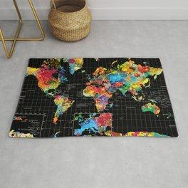World Map Black - 1 Rug