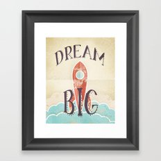 Dream Big - Retro Rocketship Child's Nursery Art Framed Art Print