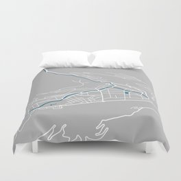 Andorra La Vella city map grey colour Duvet Cover