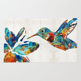 Colorful Hummingbird Art by Sharon Cummings Rug