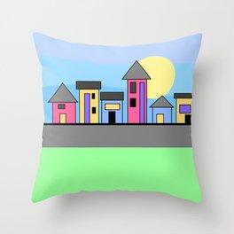 Pastel Daytime Houses Throw Pillow