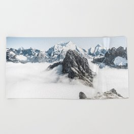 Mountain Tops Above Clouds And Snow Beach Towel