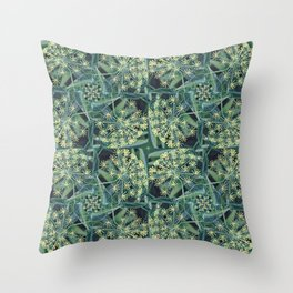 Green Herb Garden, Dill Flowers Throw Pillow