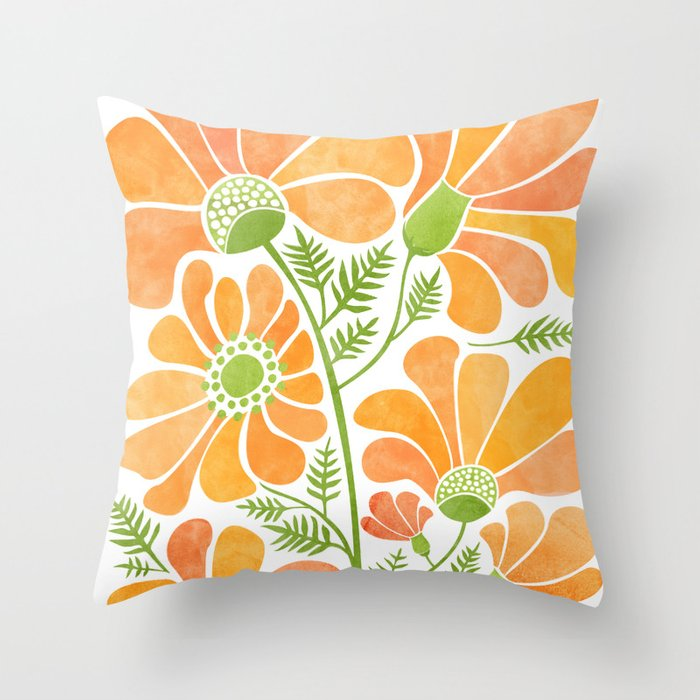 Happy California Poppies / hand drawn flowers Throw Pillow