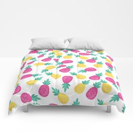 Pink yellow hand painted tropical pineapple pattern Comforters