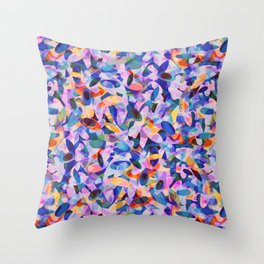 Multicolour Watercolor Spring Abstract, Ocean Blue on Orange, Lavender, Pink Oval Circle Geo Pattern Throw Pillow