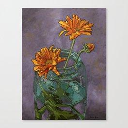 Mason Jar Flowers Canvas Print
