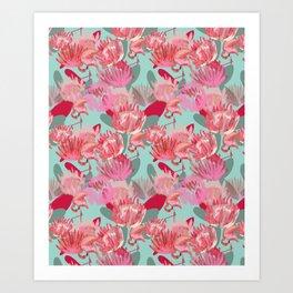 Flamingos and Proteas Art Print