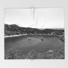 Rhodes Greece Anthony Quinn Bay black white Throw Blanket