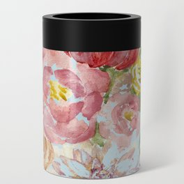 Bouquet of Watercolor on Blue Background Can Cooler