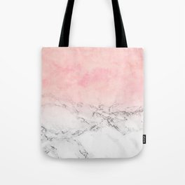 Modern blush pink watercolor ombre white marble Tote Bag