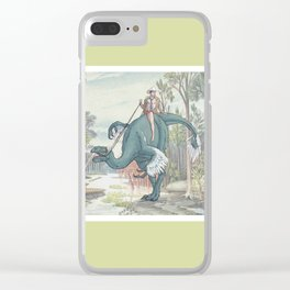 Castiel Pinup on a Dinosaur Clear iPhone Case