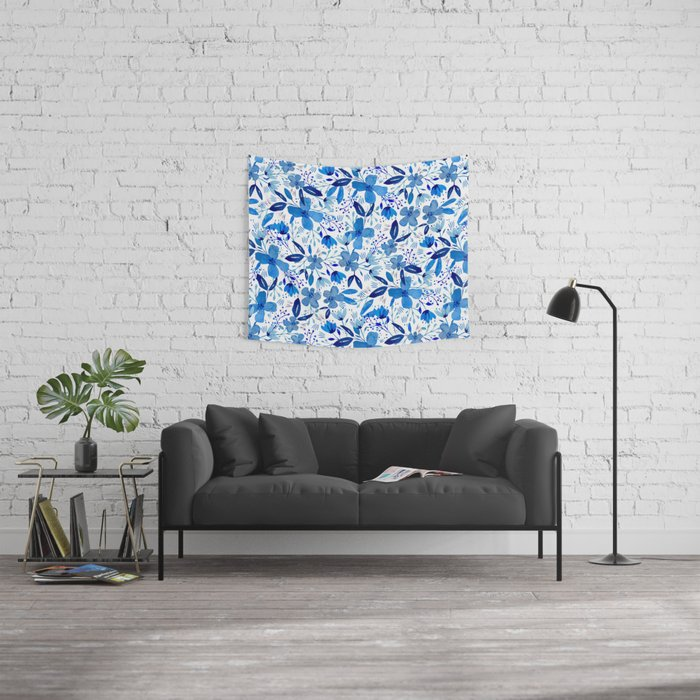 Blue Watercolour Florals Wall Tapestry