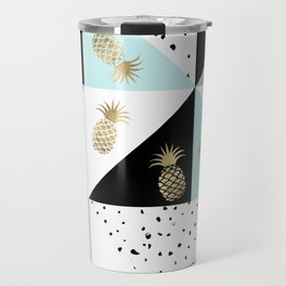 Pastel color block watercolor dots faux gold pineapple Travel Mug