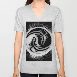 Yin and Yang Dragons Unisex V-Neck