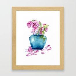 Roses in blue vase Framed Art Print