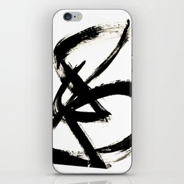 Brushstroke 3 - a simple black and white ink design iPhone Skin
