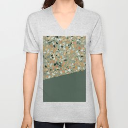 Terrazzo Texture Military Green #4 Unisex V-Neck