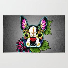 Boston Terrier in Black - Day of the Dead Sugar Skull Dog Rug