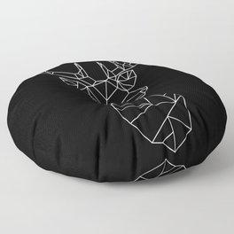 Geometric Stag (White on Black) Floor Pillow