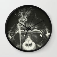 black Wall Clocks featuring Smoke 'Em If You Got 'Em by Dr. Lukas Brezak