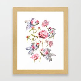 Blush Pink Peony Flowers with Fish Design Framed Art Print