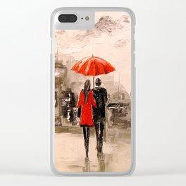 Walk in Paris rain Clear iPhone Case