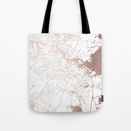 Amsterdam White on Rosegold Street Map Tote Bag
