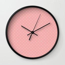 Classic Light Pink Polka Dot Spots on Blush Pink Wall Clock