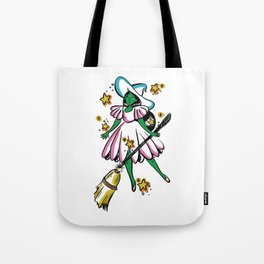 Green Galaxy Witchy Tote Bag