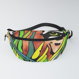 Tiger Eyes Looking Through Tall Grass By annmariescreations Fanny Pack