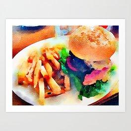 Burger and Chips Art Print