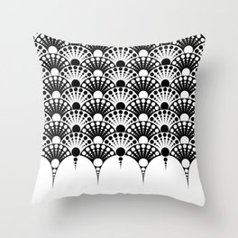 black and white art deco inspired fan pattern Throw Pillow