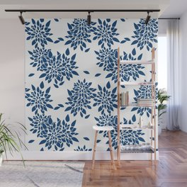 Blue abstract flowers . 2 Wall Mural