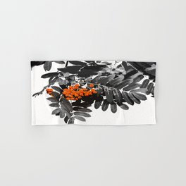 Red Rowan Berries In Black And White Background #decor #society6 Hand & Bath Towel
