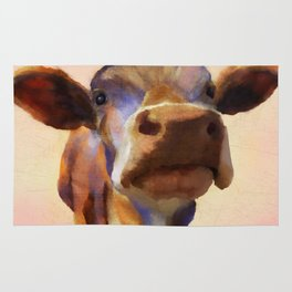 Cora the cow, cow art, cow, farm, animal Rug