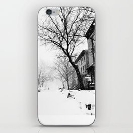 New York City At Snow Time Black and White iPhone Skin