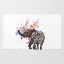 Dancing Elephant Painting Rug