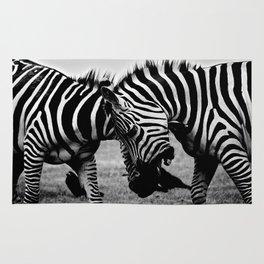 Let's Fight! // Wildlife Zebra Black Adn White Photography #society6 #art #prints Rug