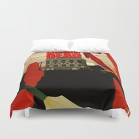 shaun of the dead Duvet Covers featuring Shaun Of The Dead by Duke Dastardly