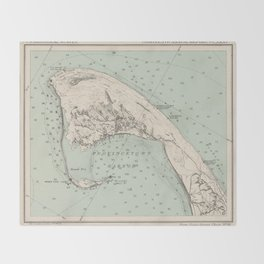 Vintage Map of Provincetown MA (1892) Throw Blanket
