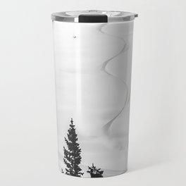 Backcountry Skier // Fresh Powder Snow Mountain Ski Landscape Black and White Photography Vibes Travel Mug