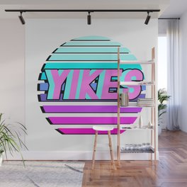 """Vaporwave pattern with palms and words """"yikes"""" #2 Wall Mural"""