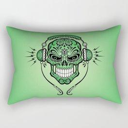 Green DJ Sugar Skull with Headphones Rectangular Pillow