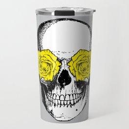 Skull and Roses   Grey and Yellow Travel Mug