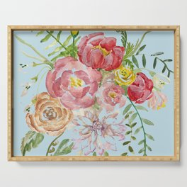 Bouquet of Watercolor on Blue Background Serving Tray