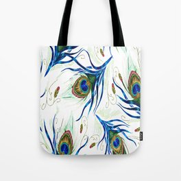 Bold Wispy Peacock Tote Bag