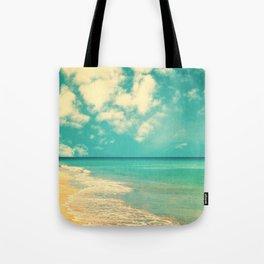 Retro beach and turquoise sky (square) Tote Bag